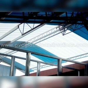 tejas en pvc azul y translúcida