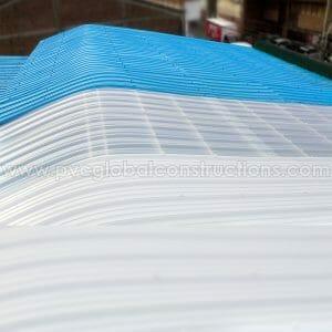 tejas en pvc azul blanca y translúcida