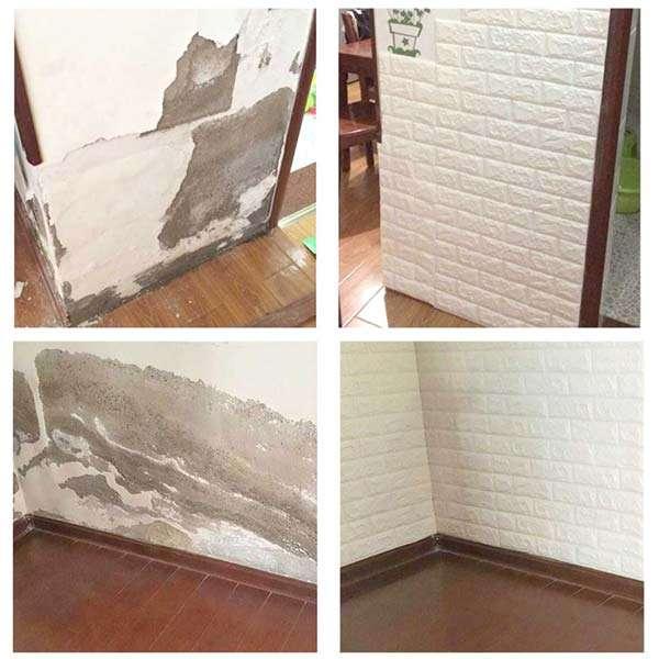 pared 3d adhesiva antes y después recubrir pared dañada humedad